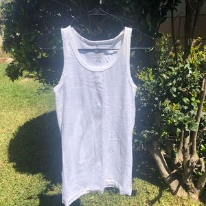 Stretchable White See Through Large Tank Top